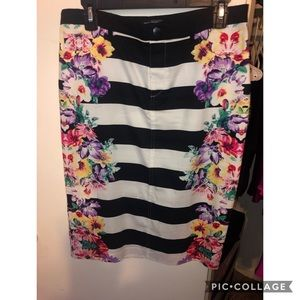 Stripe and floral skirt
